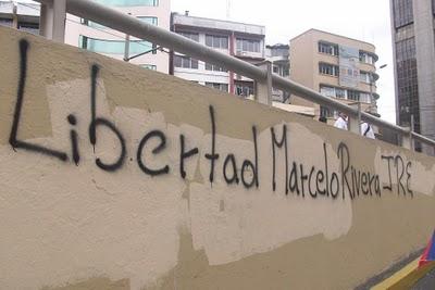 Graffitis inundan el país exigiendo libertad para Marcelo Rivera